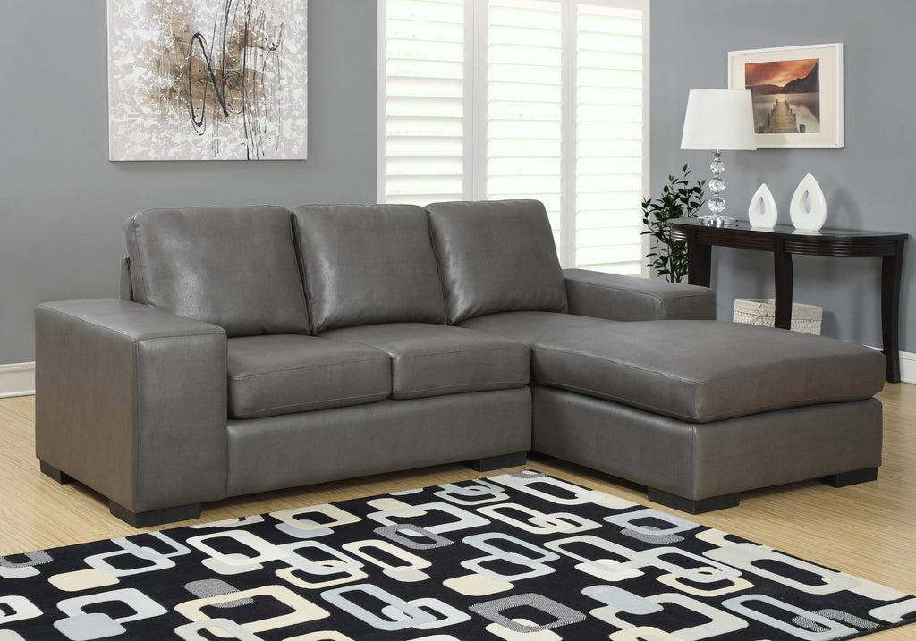 Monarch Specialties I 8200GY Sofa Chaise Longue Cuir Reconstitue Gris Fonce