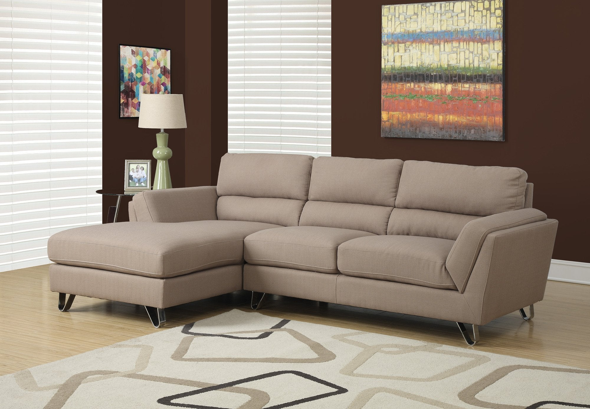 Monarch Specialties I 8210LB Sofa Chaise Longue Tissu Lin Brun Pale