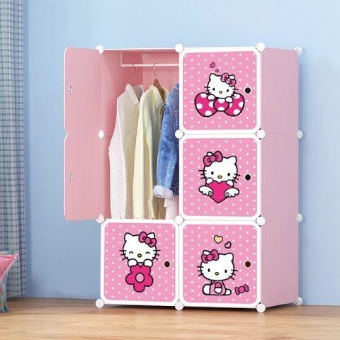 Hello Kitty 6 Cubes Portable Wardrobe - Pink - 11Cart