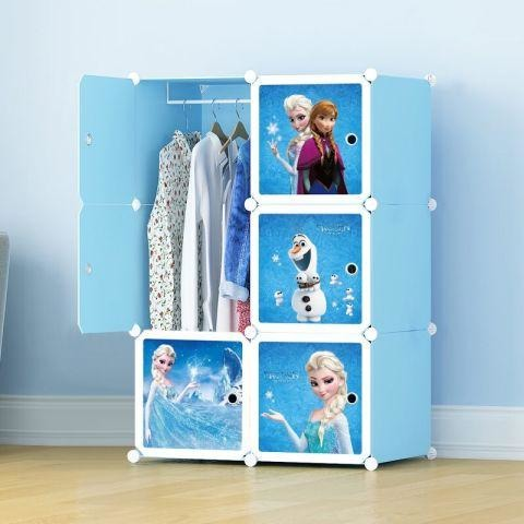 Barbie Design 6 Cubes Portable Wardrobe - Blue -Home & Kitchen-11Cart-11Cart