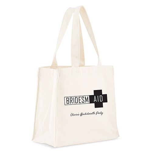 Custom Monogrammed White Cotton Canvas Fabric Beach Tote Bag