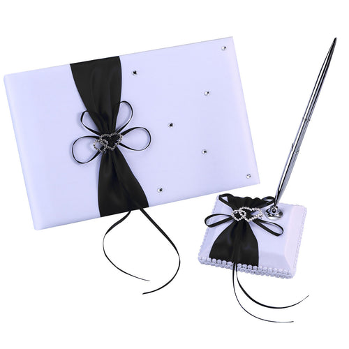 Guest Attendance Book with Pen and Pen Stand Set