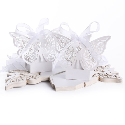 50 pcs Hollow Big Butterfly Style Candy Boxes