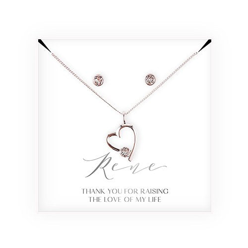 Swarovski Crystal Earring & Heart Necklace Set - Mother-In-Law Thank You