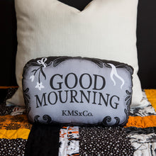 Load image into Gallery viewer, Good Mourning - Casket Plate Inspired Mini Throw Pillow