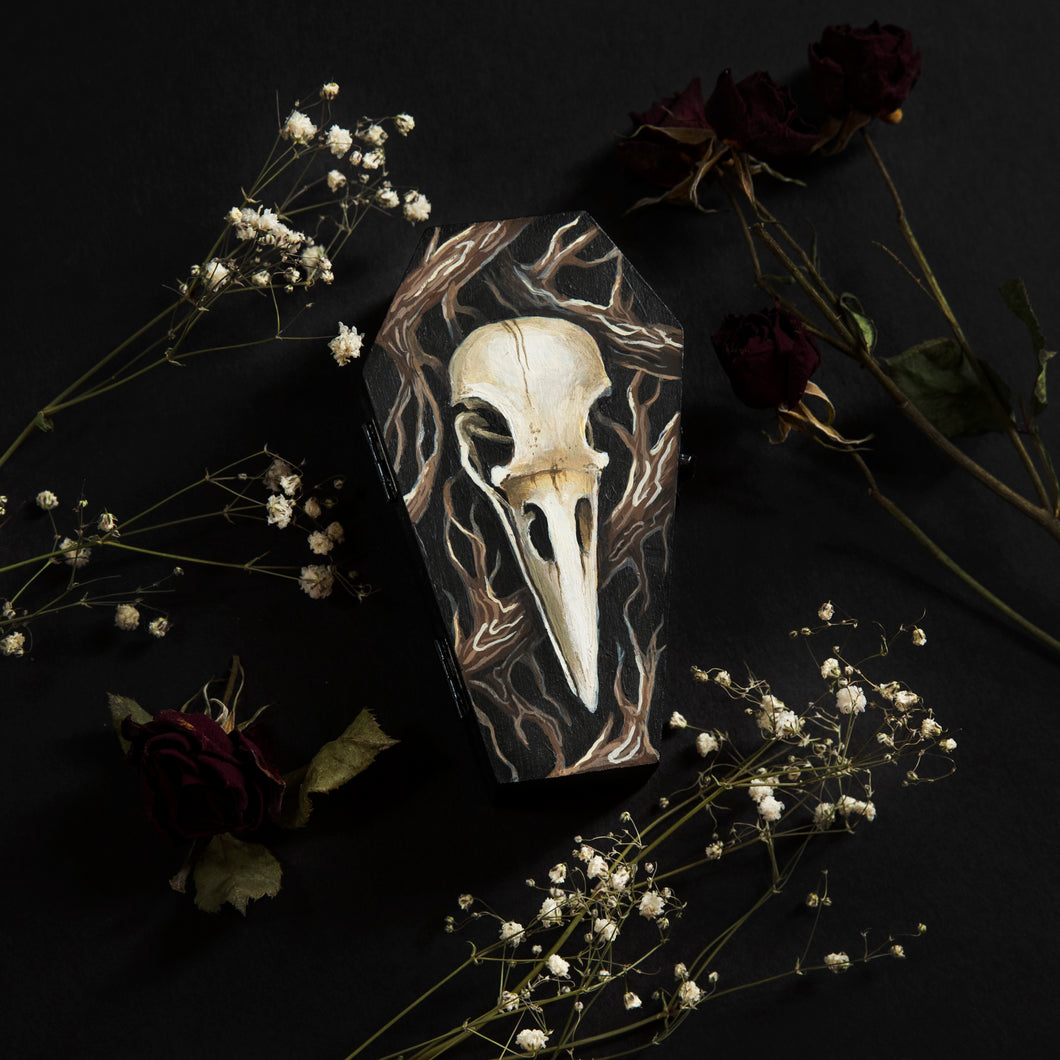 Crow Skull Hand Painted Trinket Box