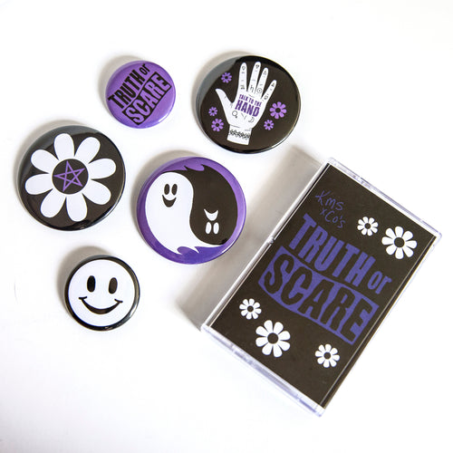 Truth or Scare Cassette Case Button Bundle