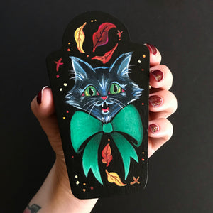 Fall Kitty Original Painting Mini Trinket Box