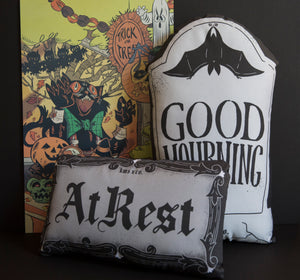 At Rest - Mini Casket Plate Inspired Pillow