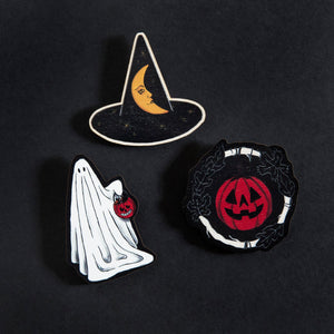 Halloween Wooden Brooch - Choice of Ghost, Pumpkin or Witch's Hat