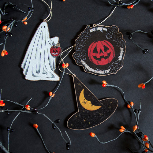 Halloween Wooden Ornament - Choice of Ghost, Witch's Hat or Pumpkin