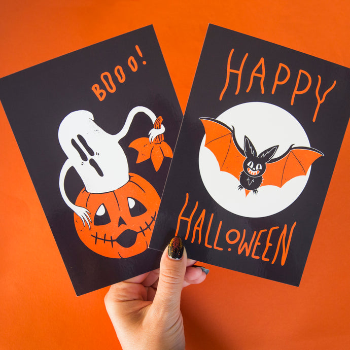 Set of Four Halloween Postcards
