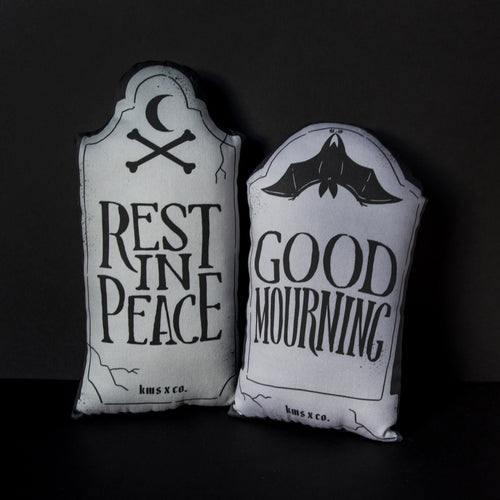 Mini Gravestone Pillow - Rest in Peace or Good Mourning