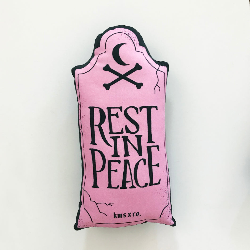 Mini Pastel Pink Rest in Peace Pillow