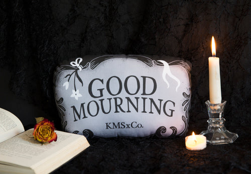 Good Mourning - Casket Plate Inspired Mini Throw Pillow