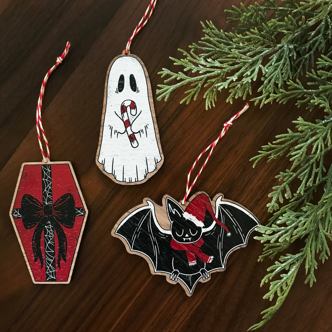 Haunted Holiday Wood Ornaments