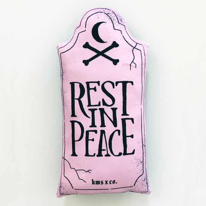 Pastel Pink Rest in Peace Pillow