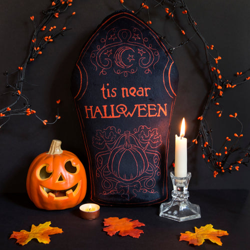 Tis Near Halloween Tombstone Pillow