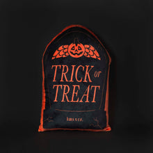 Load image into Gallery viewer, Trick or Treat Gravestone Throw Pillow