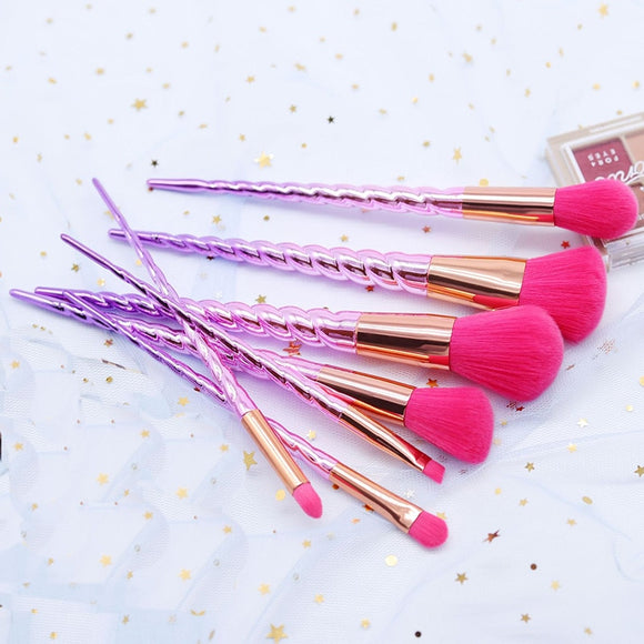 7pcs Lovely Unicorn Pink Makeup Brushes