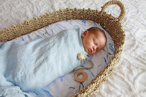 Ocean Lullaby Fitted Bassinet Sheet/Change Mat Cover