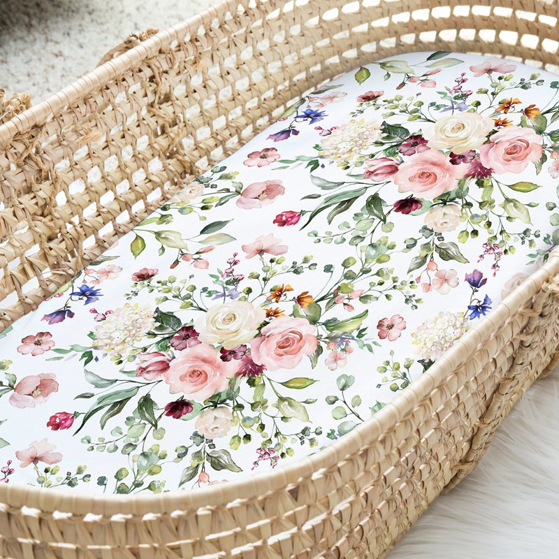 Spring Blossom Fitted Bassinet Sheet/Change Mat Cover