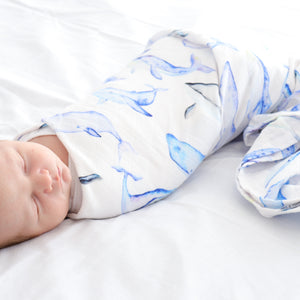 Ocean Lullaby Checked Double Cotton Muslin Swaddle Wrap