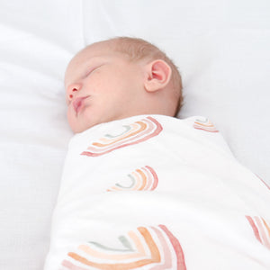 Aurora Skies Checked Double Bamboo/Cotton Muslin Swaddle Wrap