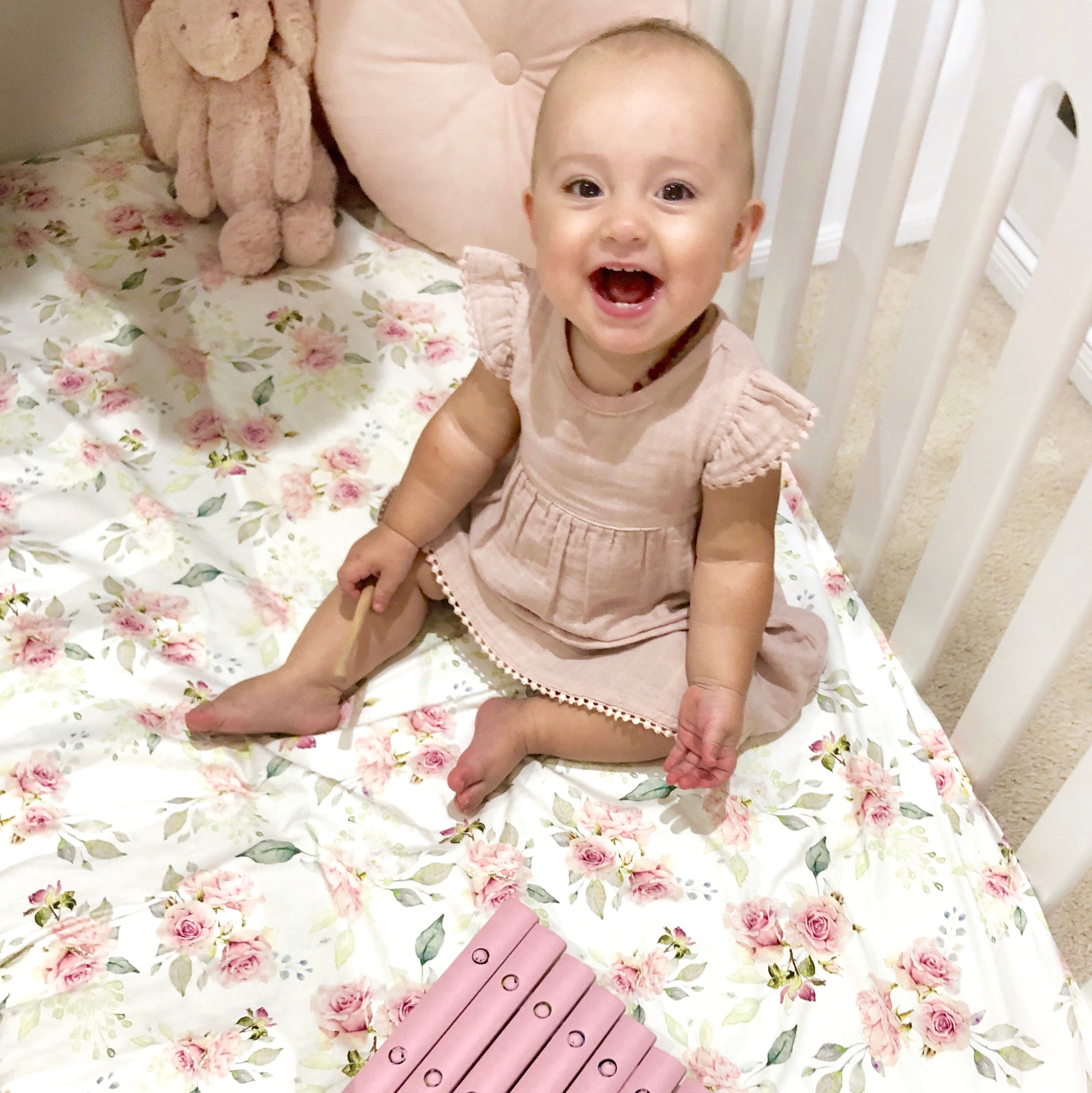 Dusty Rose Fitted Cot / Crib Sheet