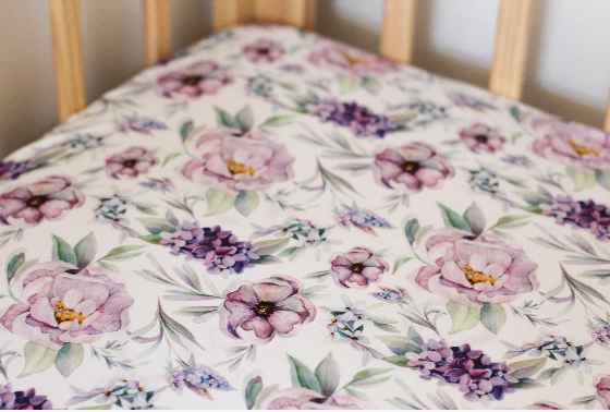 Violet Peony Fitted Bassinet Sheet/Change Mat Cover