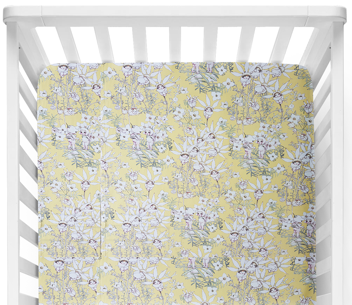 May Gibbs Gumnut Flannel Flower Babies Yellow Fitted Cot Sheet/Crib Sheet