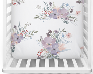 Twilight Blooms Fitted Cot Sheet/Crib Sheet