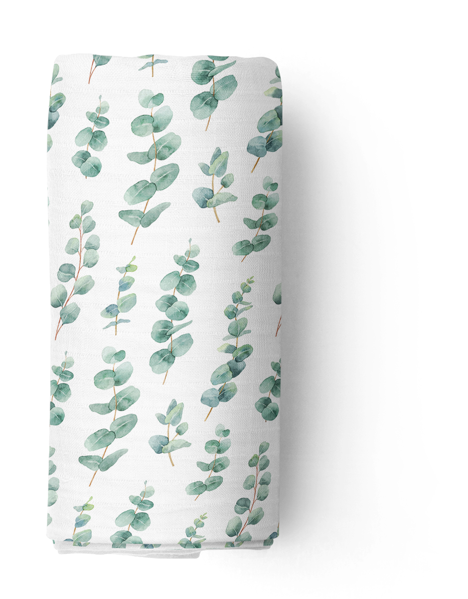Silver Gum Leaf Checked Double Cotton Muslin Swaddle Wrap