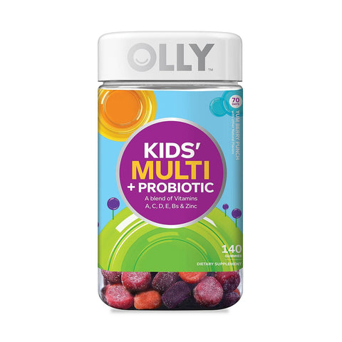 OLLY Kids Multi-Vitamin and Probiotic Gummy Supplements, Yum Berry Punch, 1 Pack ( 140 Count )