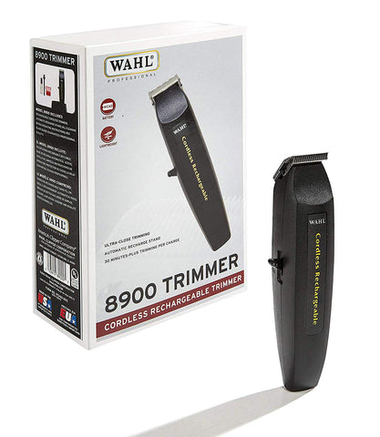 "Wahl Professional #8900 Cordless Rechargeable Trimmer, Black – Lightweight 6"" Trimmer – Includes Automatic Recharge Stand and Battery"