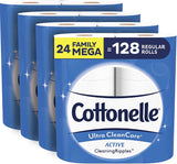 Cottonelle Ultra CleanCare Soft Toilet Paper with Active Cleaning Ripples, 24 Family Mega Rolls, Bath Tissue