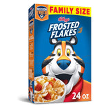 Kellogg's Frosted Flakes, Breakfast Cereal, Original, Excellent Source of 7 Vitamins and Minerals, Family Size, 24oz Box