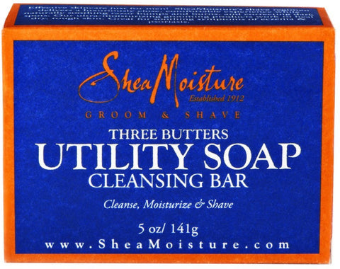 Shea Moisture Three Butters Utility Soap Cleansing Bar 5 oz (Pack of 4)