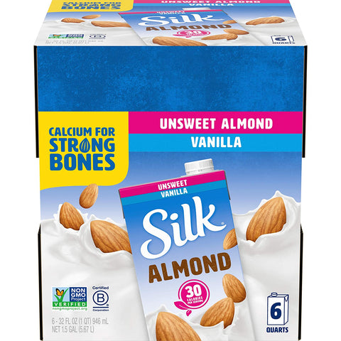 Silk Almond Milk, Unsweetened Vanilla, 32 Fluid Ounce (Pack of 6), Vanilla Flavored Non-Dairy Almond Milk, Dairy-free Milk