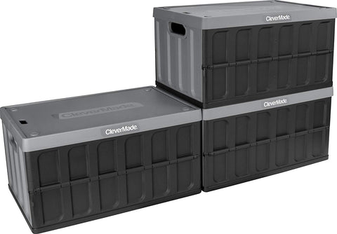 CleverMade 62L Collapsible Storage Bins with Lids - Folding Plastic Stackable Utility Crates, Solid Wall CleverCrates, 3 Pack, Charcoal