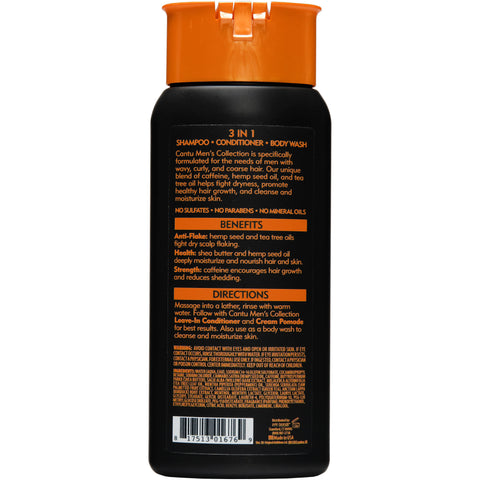 Cantu Mens Collection 3-in-1 Shampoo Conditioner Body Wash, 13.5 oz