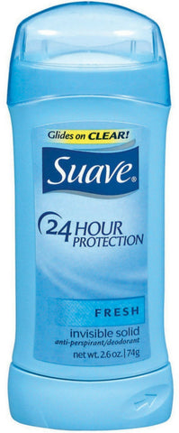 Suave 24 Hour Protection Anti-Perspirant Deodorant Invisible Solid, Fresh 2.60 oz
