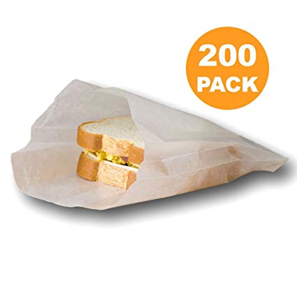 "White 6"" x 7"" Wet Waxed Paper Sandwich Bags"