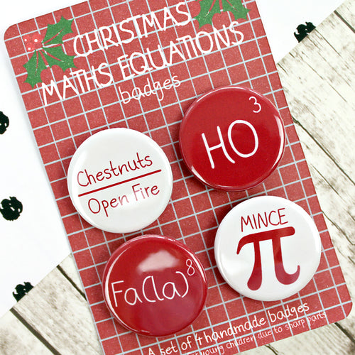 Christmas Maths Equations badges