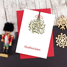 Load image into Gallery viewer, Mistletoe kisses Christmas card