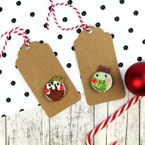 Christmas gift tags with Christmas pudding badge or sprout badge