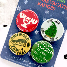 Load image into Gallery viewer, Close up of Christmas Vacation Badges