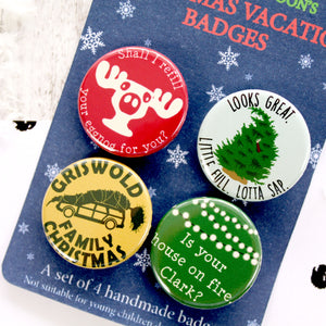 Close up of Christmas Vacation Badges