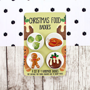 Set of four Christmas food badges