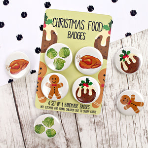 Christmas food badges with gingerbread and sprouts